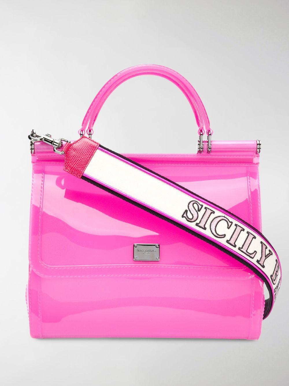 c13155a99991 Lyst - Dolce   Gabbana Pink Sicily Transparent Pvc Shoulder Bag in Pink