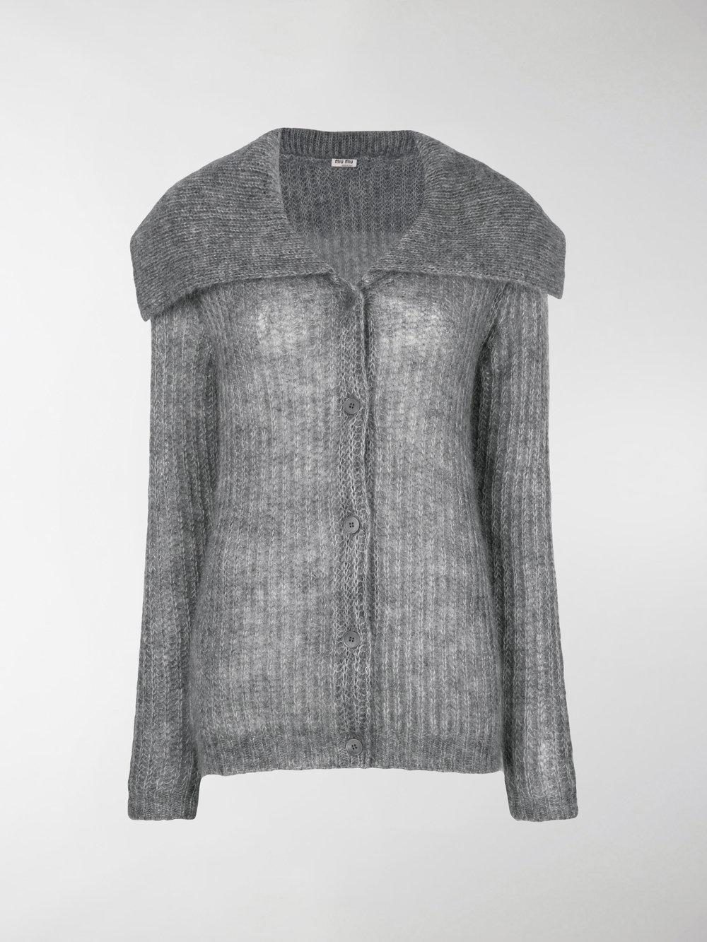 1d3d897408a Lyst - Miu Miu Oversized Collar Cardigan in Gray