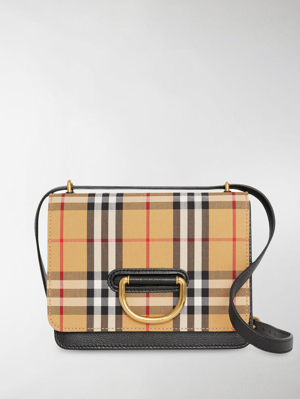 8f8a022d7f1c Lyst - Burberry Small Vintage Check D-ring Bag in Yellow