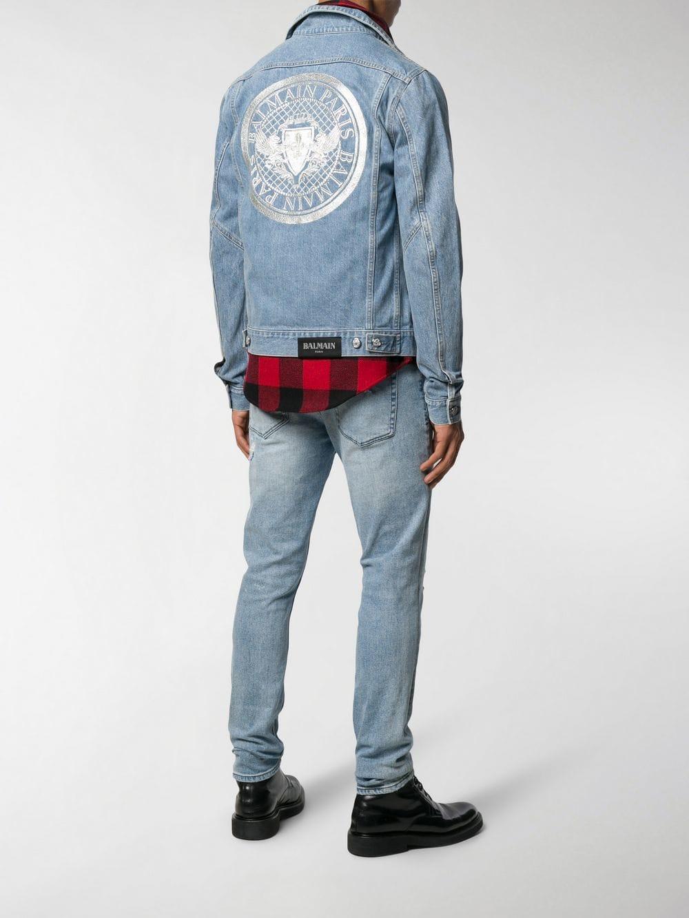 94015dd1 Lyst - Balmain Embroidered Logo Denim Jacket in Blue for Men