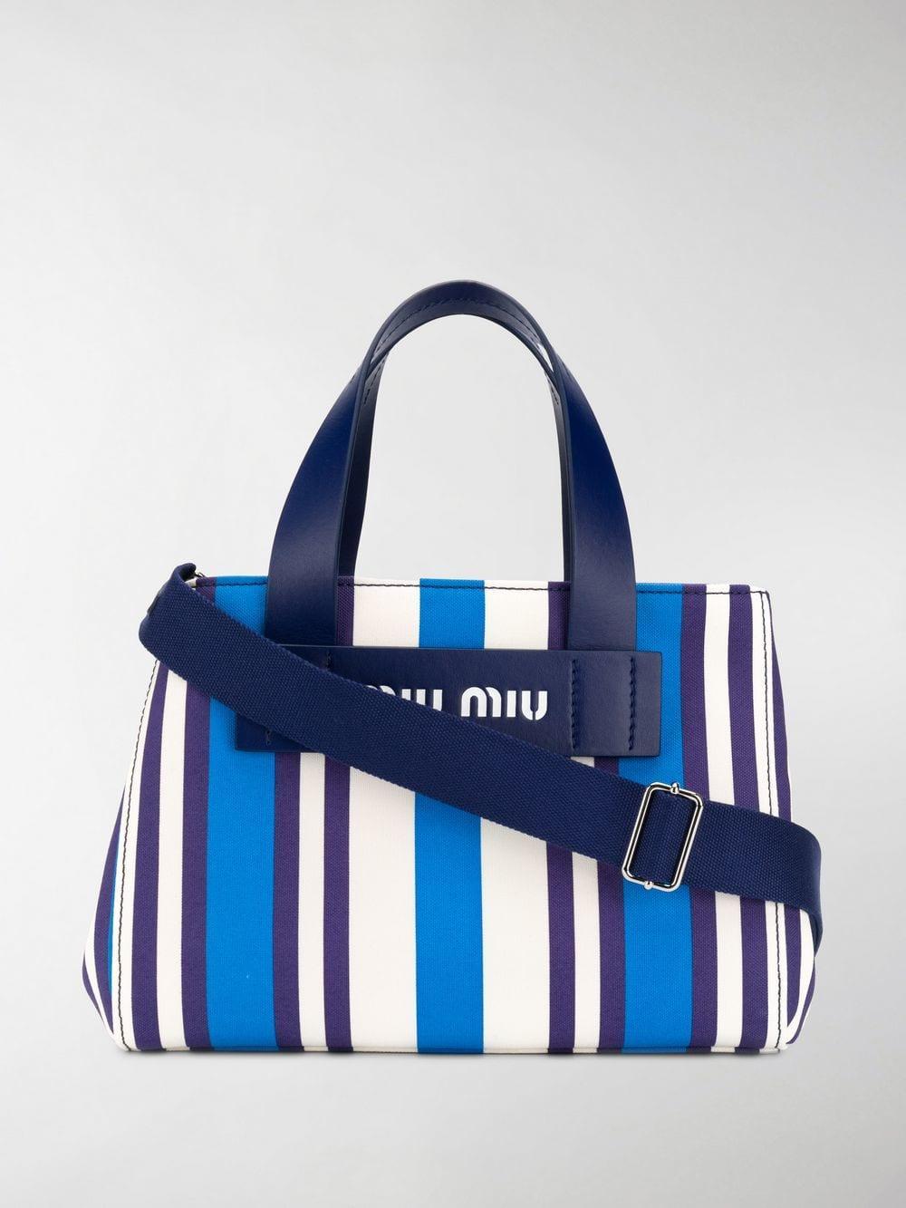 Lyst - Miu Miu Blue Small Striped Canvas Tote Bag in Blue b30a1571ab34c