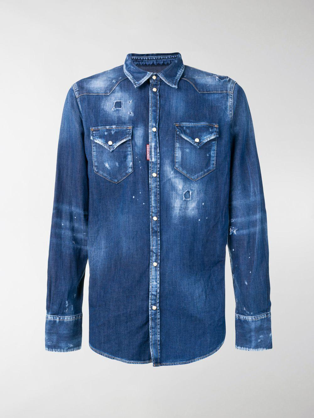 85e63ff12d Lyst - Dsquared² Distressed Denim Shirt in Blue for Men