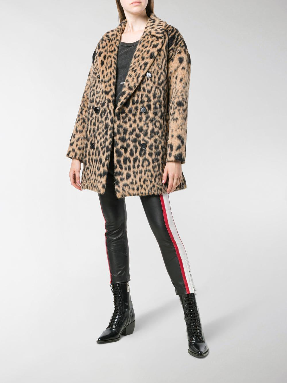 72fd0521e1091 Saint Laurent Double-breasted Leopard Coat in Black - Lyst