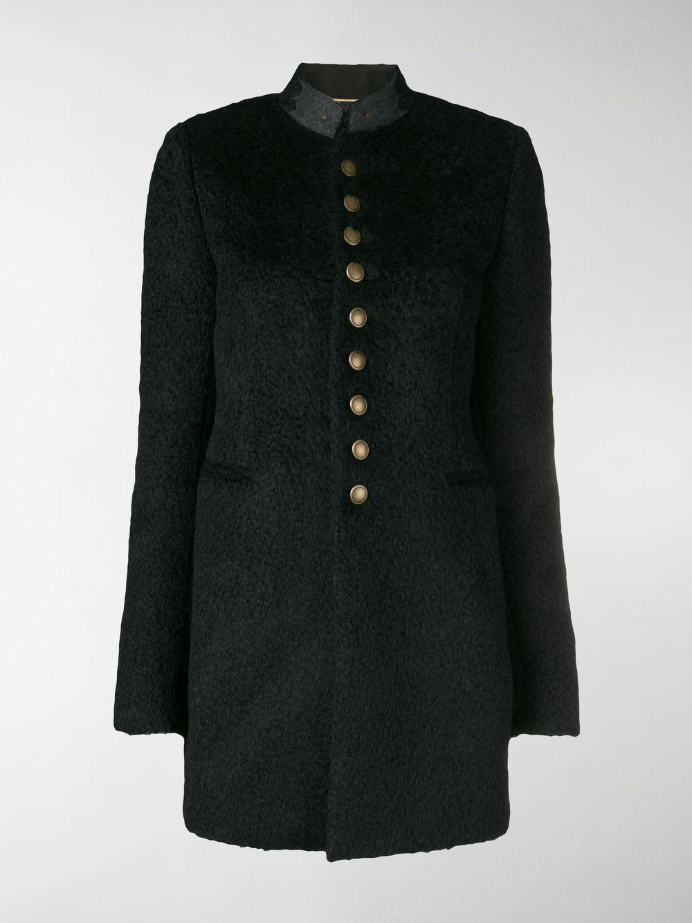 b7c6d5cb242 Saint Laurent Buttoned Military Coat in Black - Lyst