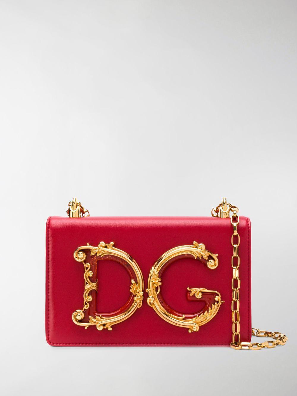 ddfda8c4b239 Dolce   Gabbana Foldover Logo Shoulder Bag in Red - Lyst