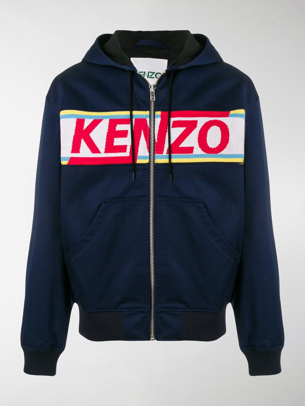 2b462404 KENZO Logo Panelled Cotton Zip-up Hoodie in Blue for Men - Lyst