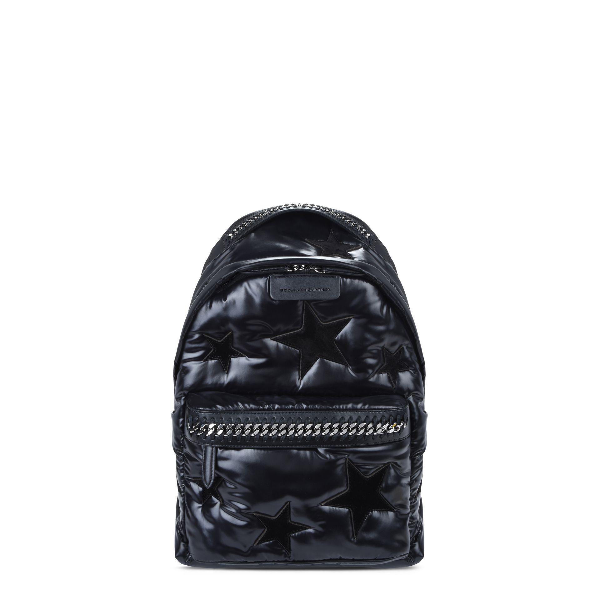 bff110ec1447 Stella Mccartney Black Stars Falabella Go Backpack in Black - Lyst