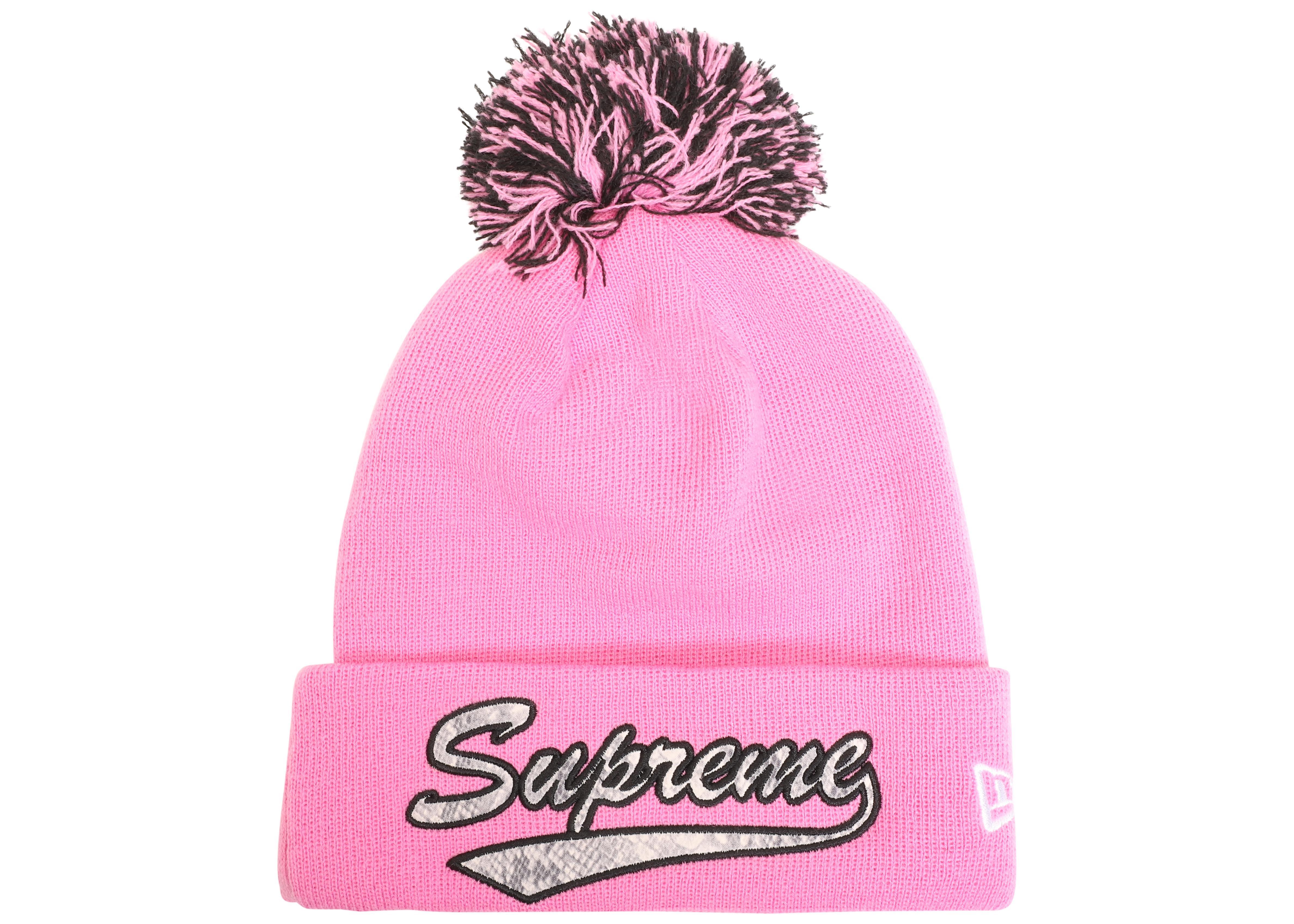 369bbcb4281 Lyst - Supreme New Era Snake Script Beanie Pink in Pink