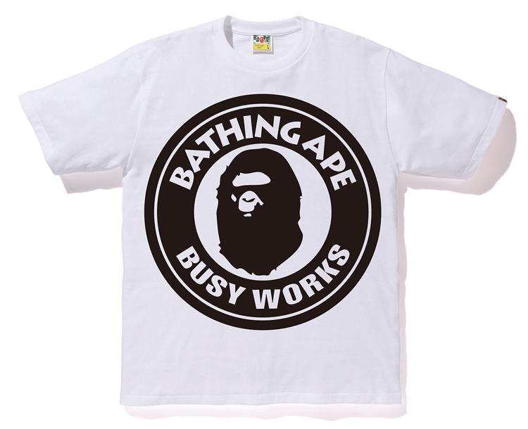 29b6425d Lyst - A Bathing Ape Pigment Bicolor Big Busy Works Tee White in ...