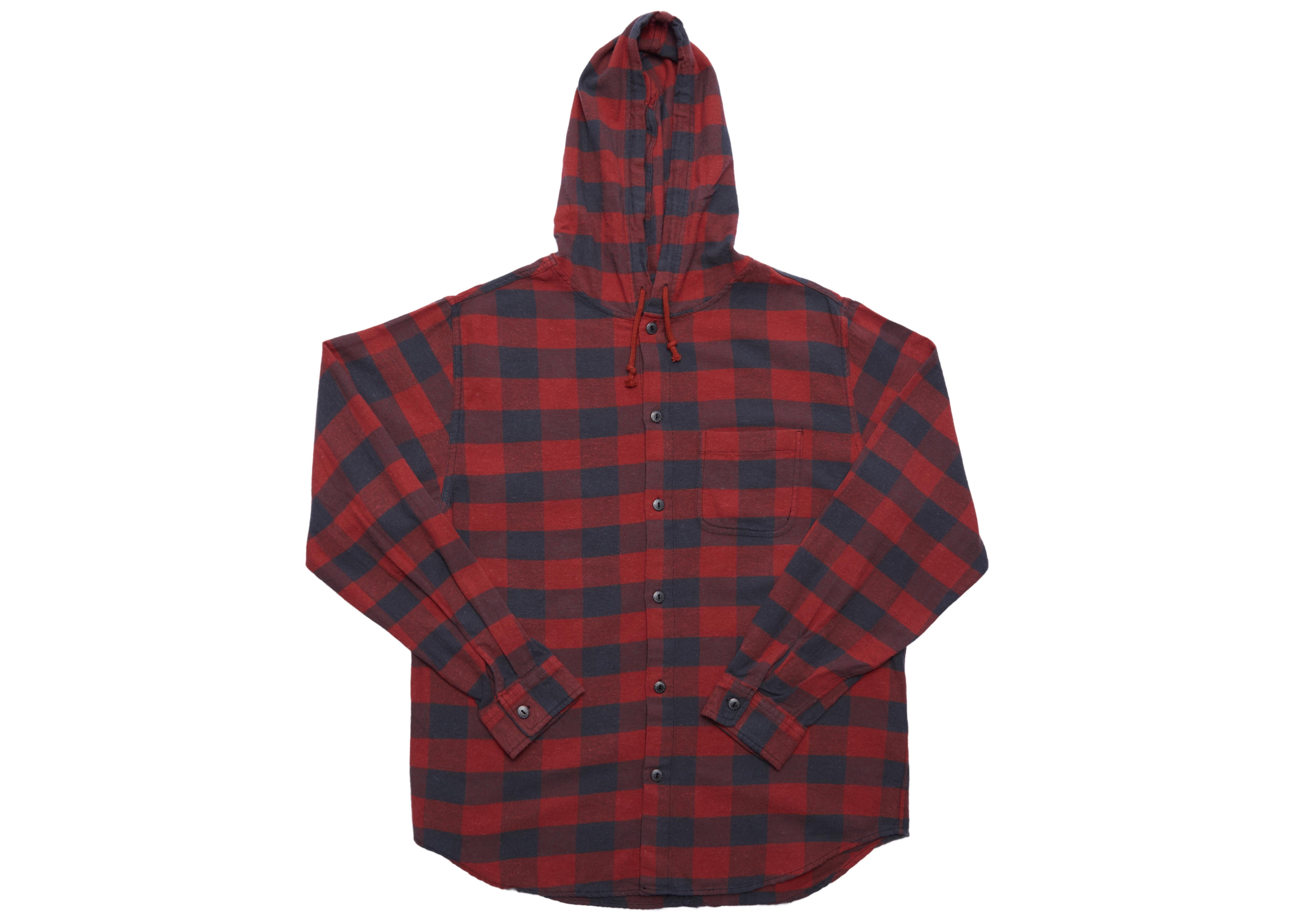 e4d51666df0 Lyst - Supreme Hooded Buffalo Plaid Flannel Shirt Red in Red for Men