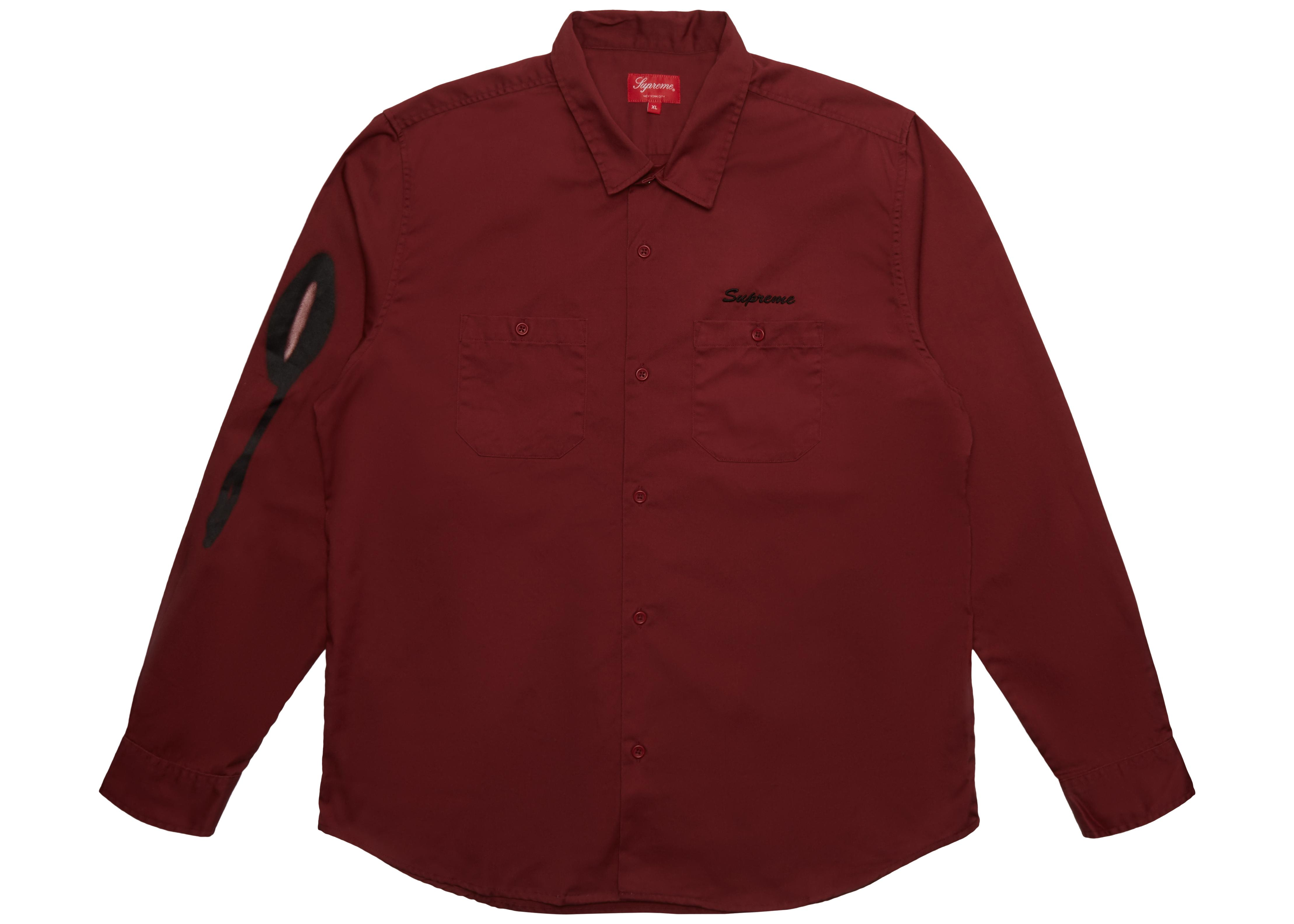 f8b154bdbd8 Lyst - Supreme Rose Ls Work Shirt Dusty Red in Red for Men
