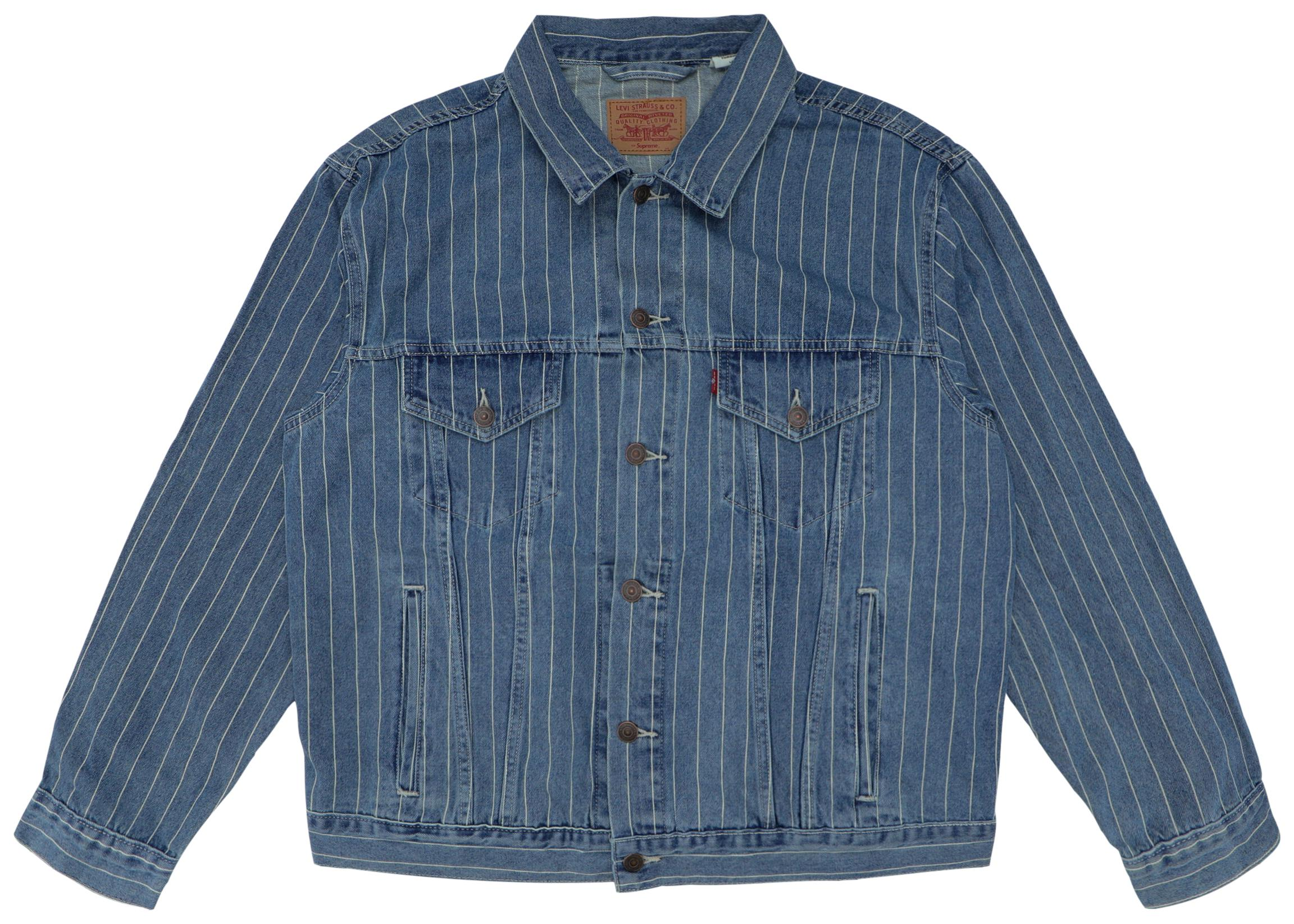 eef6dd8b Lyst - Supreme Levi's Pinstripe Trucker Jacket (with Pin) Blue ...