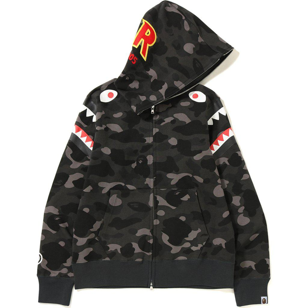 5f607f4d09aa Lyst - A Bathing Ape Color Camo Double Shark Full Zip Hoodie Black ...