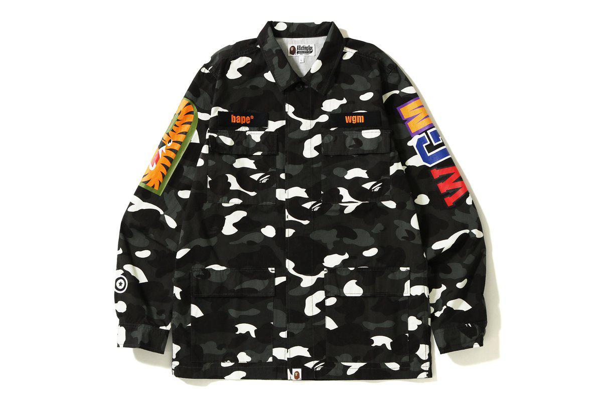e1ec4eb7cb16 Lyst - A Bathing Ape City Camo Shark Army Shirt Black in Black for Men