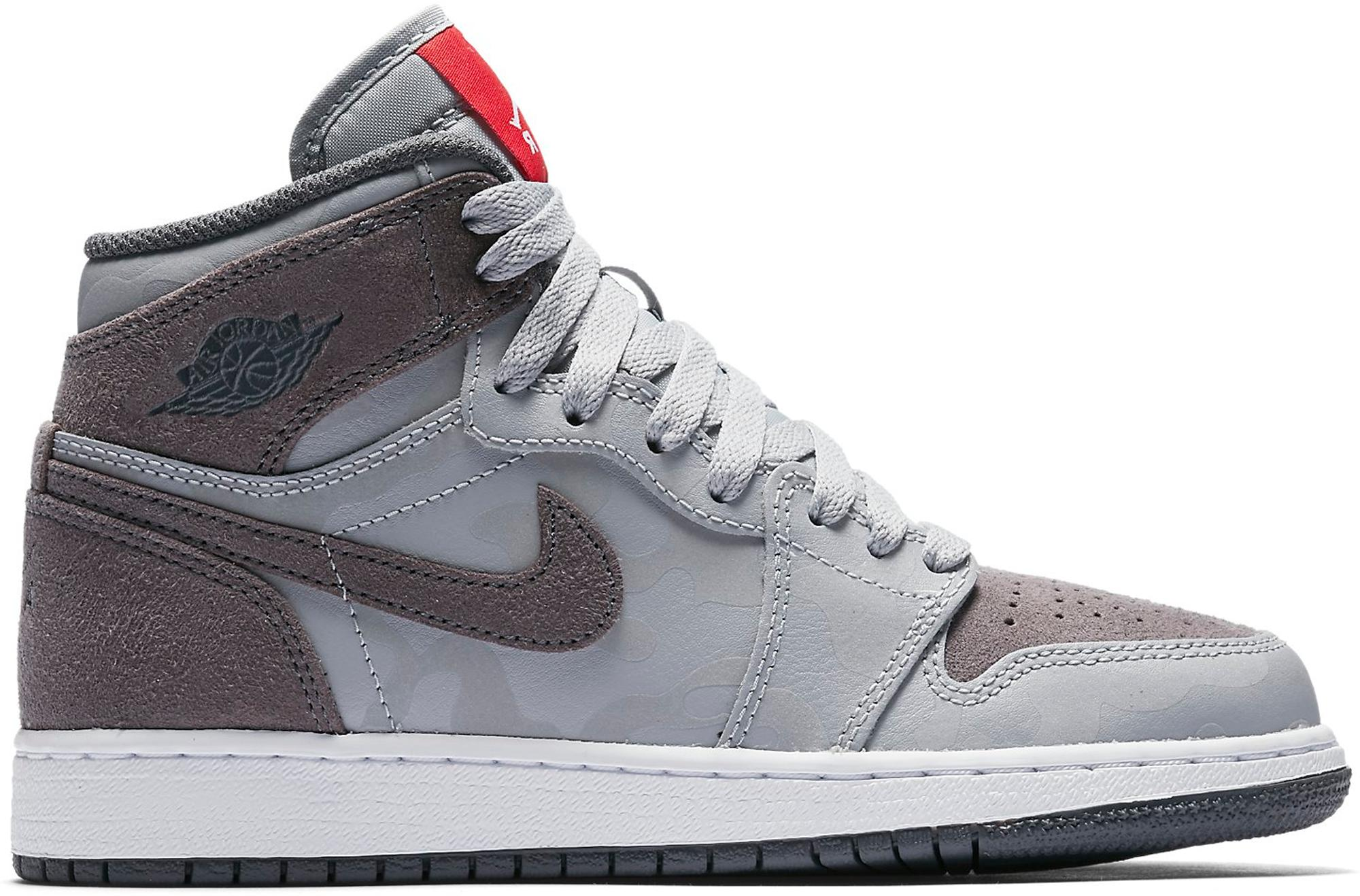 482e0954 Nike 1 Retro High Camo 3m Wolf Grey (gs) in Gray for Men - Lyst