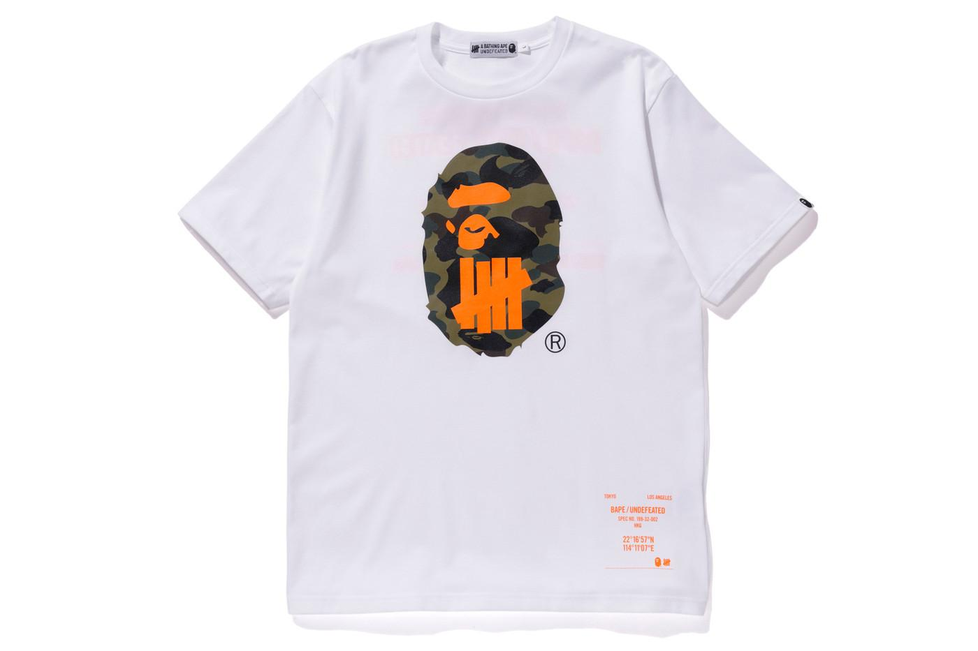 806b6472 A Bathing Ape X Undefeated Sport Is War Ape Head Tee White in White ...