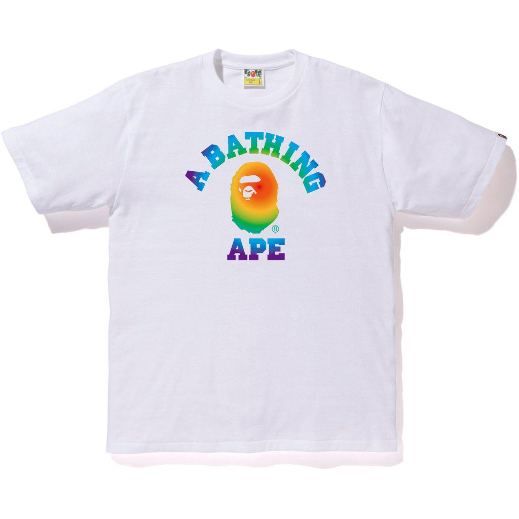 d918bd35 Lyst - A Bathing Ape Rainbow College Tee White in White for Men