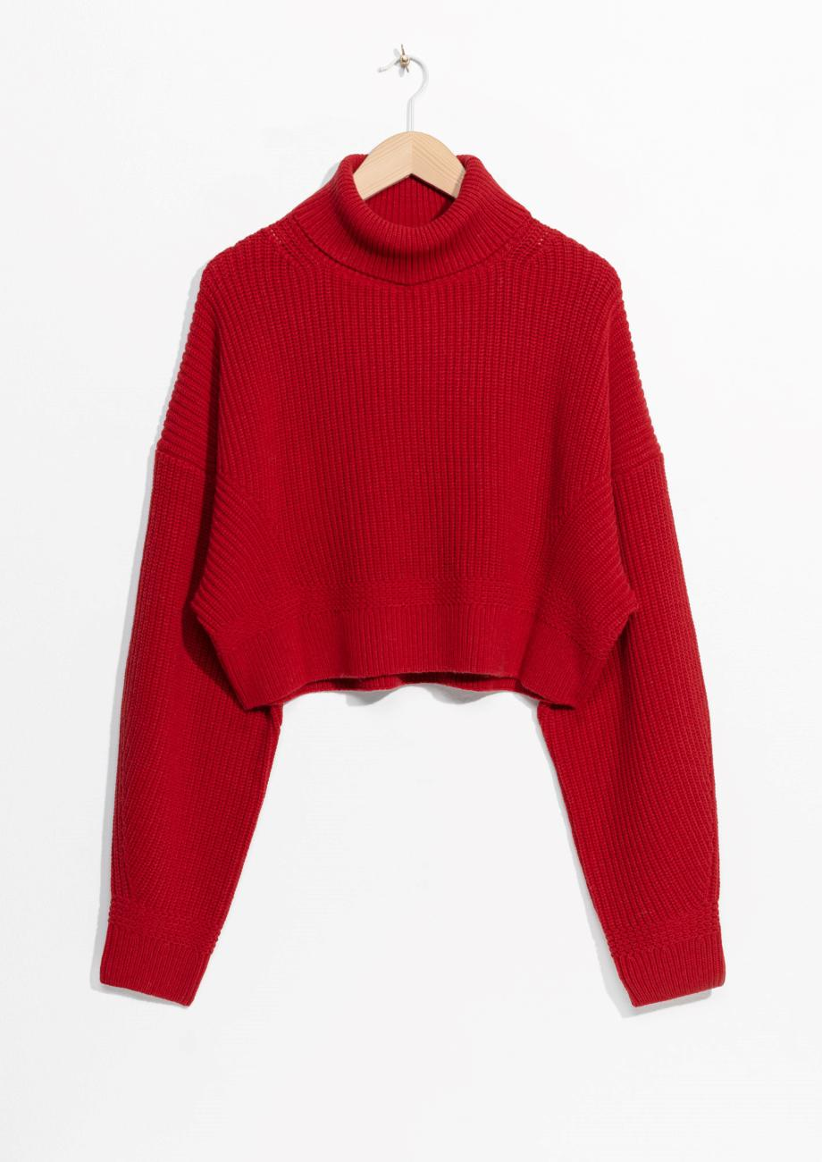 & other stories Knit Turtleneck Sweater in Red | Lyst