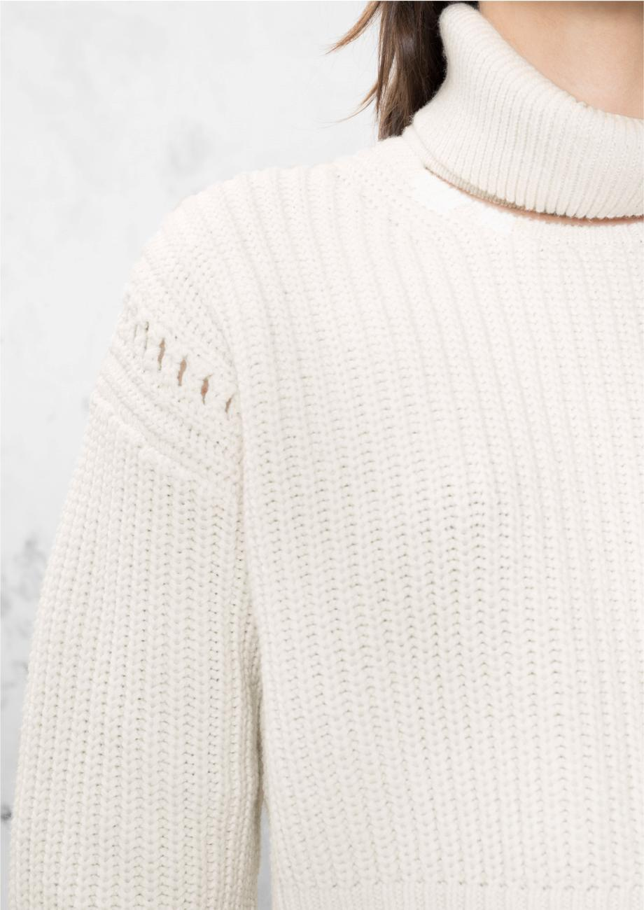 & other stories Crop Turtleneck Sweater in White | Lyst