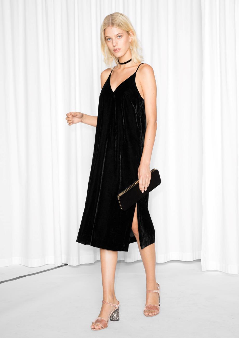 d151be2df018   Other Stories Spaghetti Strap Velvet Dress in Black - Lyst