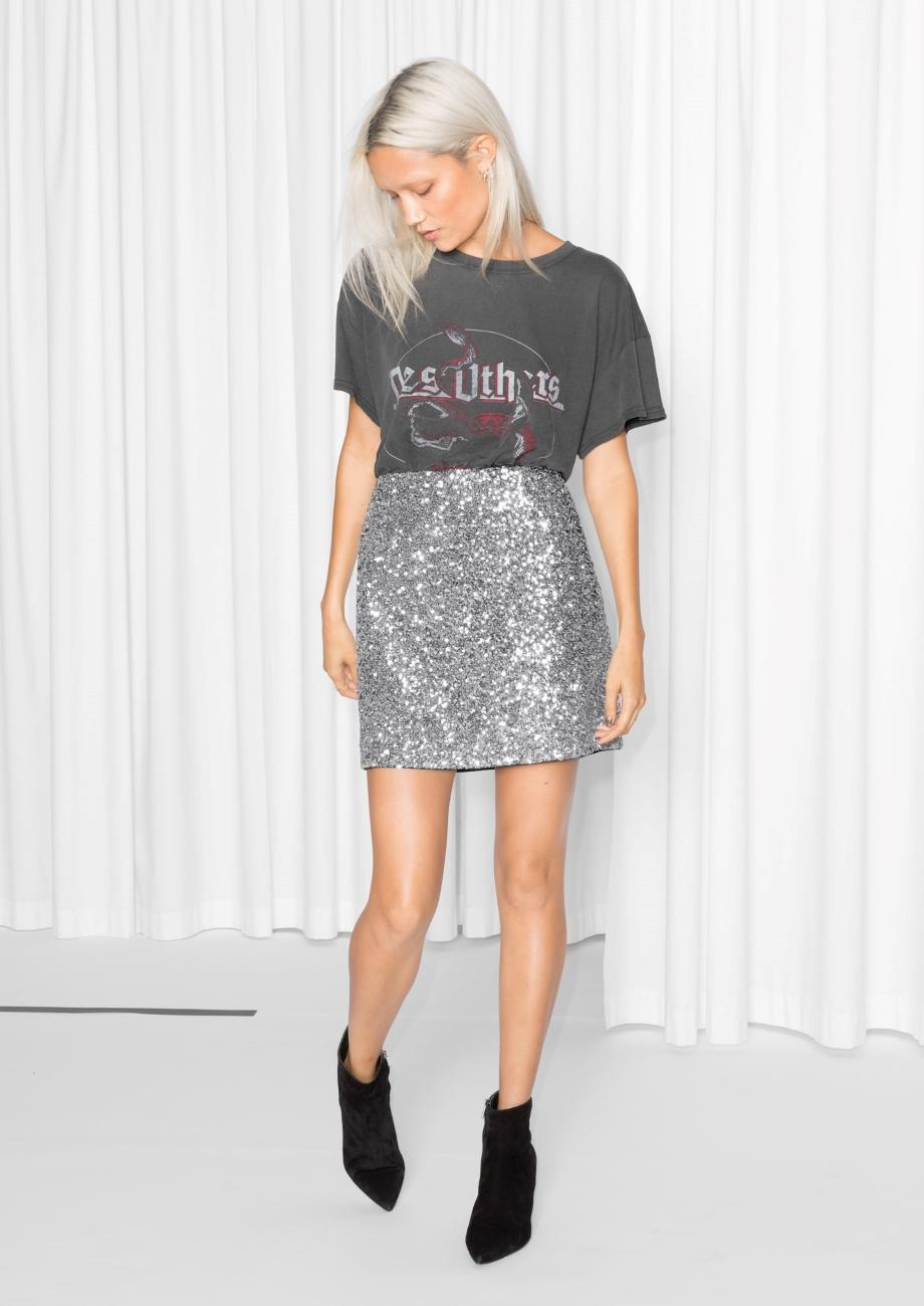 & Other Stories Silver Sequin Skirt in Metallic - Lyst