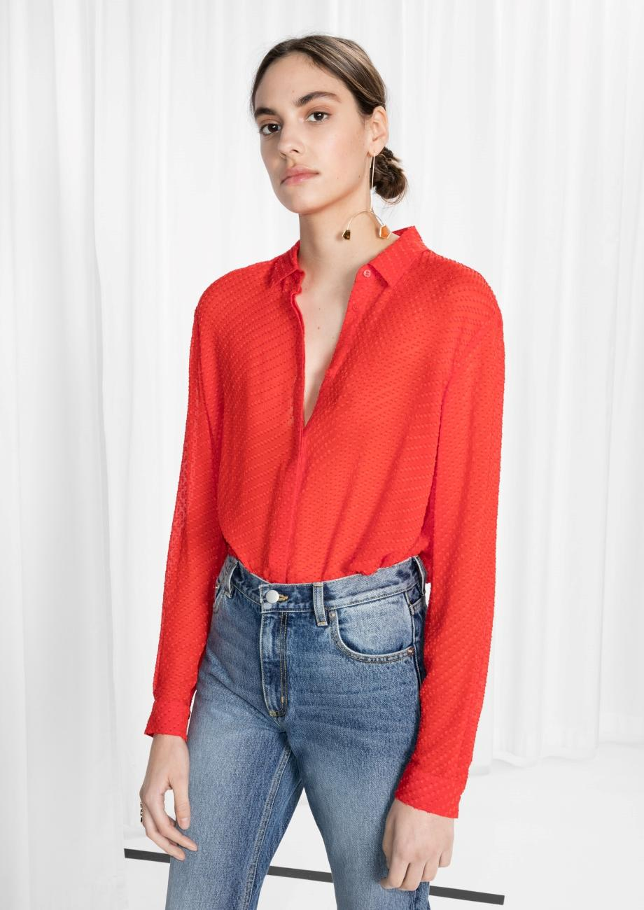 & Other Stories Sheer Silk Blouse in Red