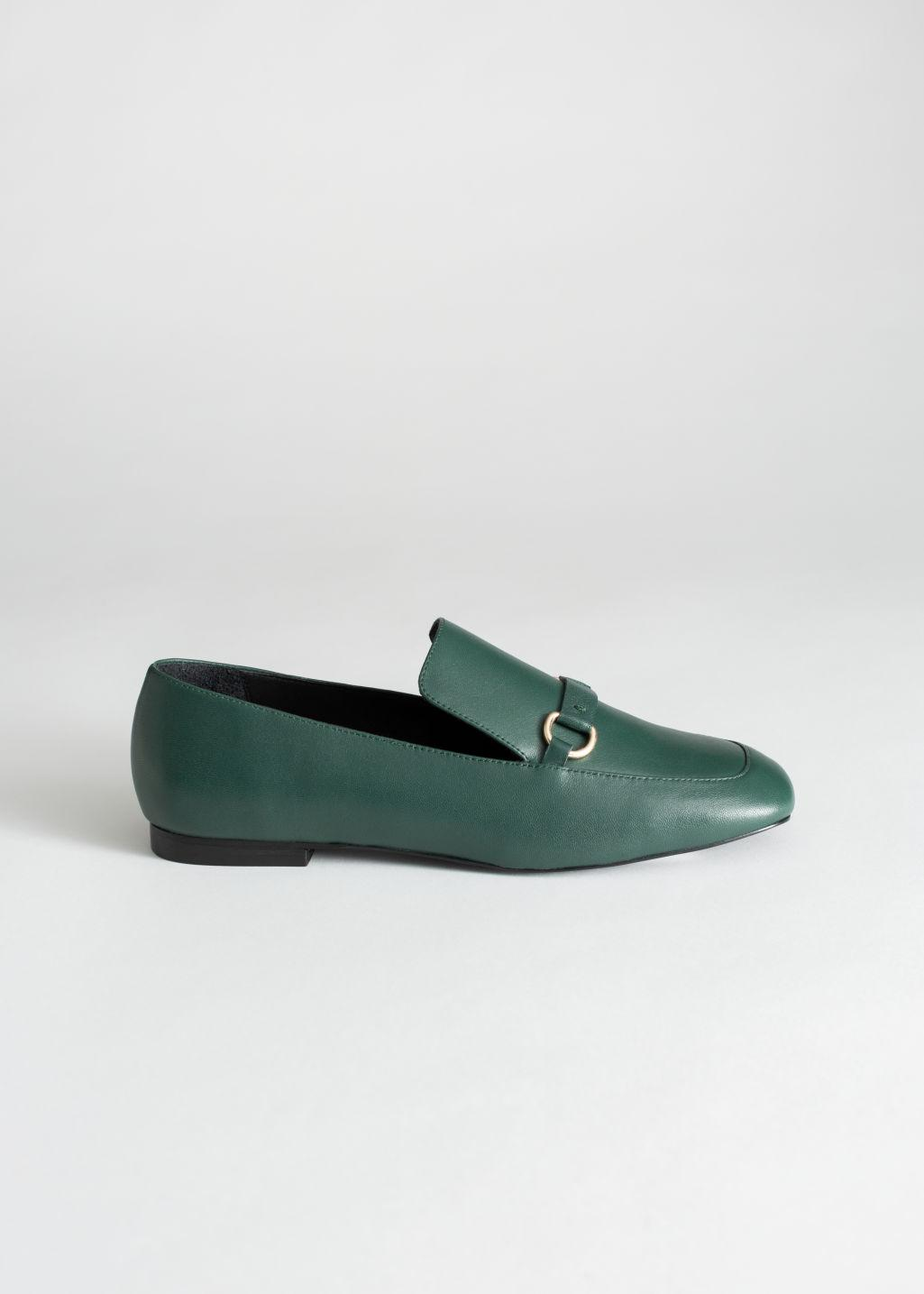934d5244cb8   Other Stories Square Toe Equestrian Loafer in Green - Lyst