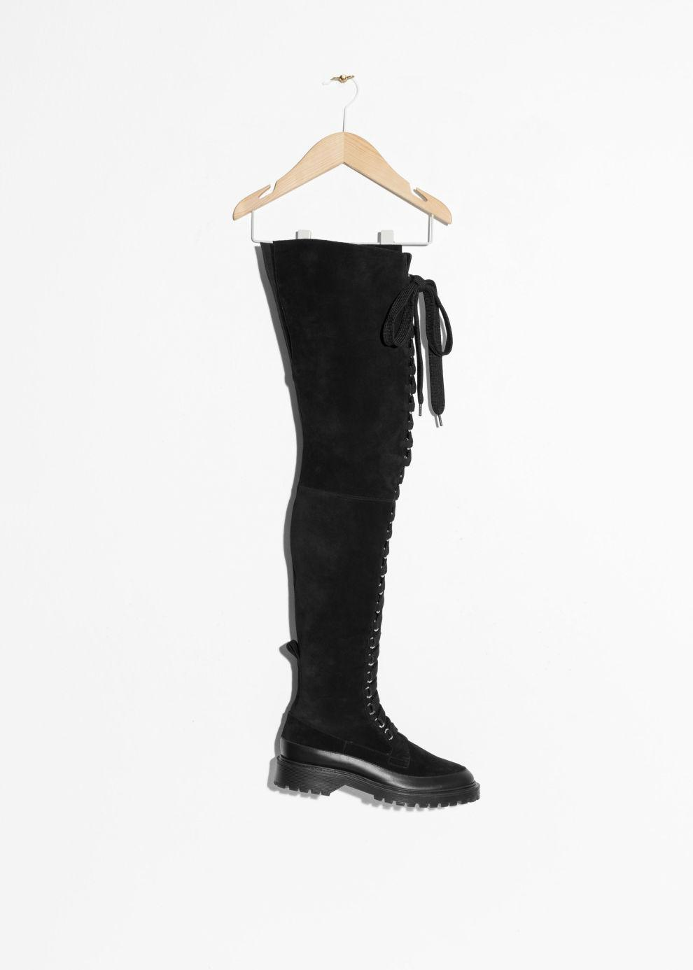accdbfe700a Other Stories - Black Suede Lace-up Over Knee Boot - Lyst. View fullscreen