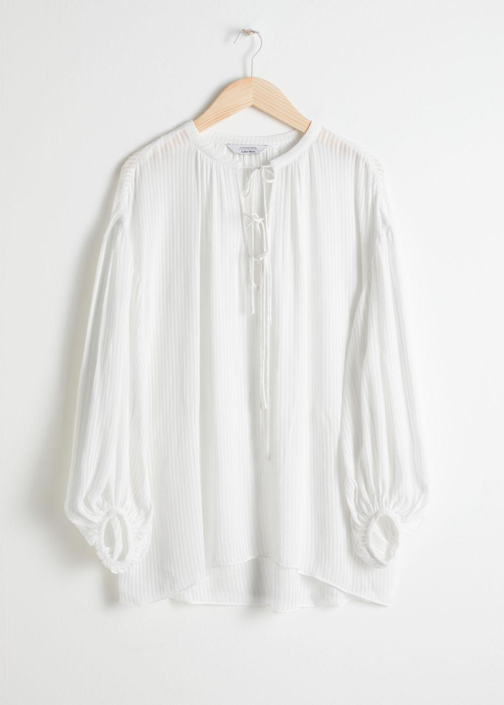 5ff8263a852ed Other Stories - White Sheer Stripe Tie Blouse - Lyst. View fullscreen