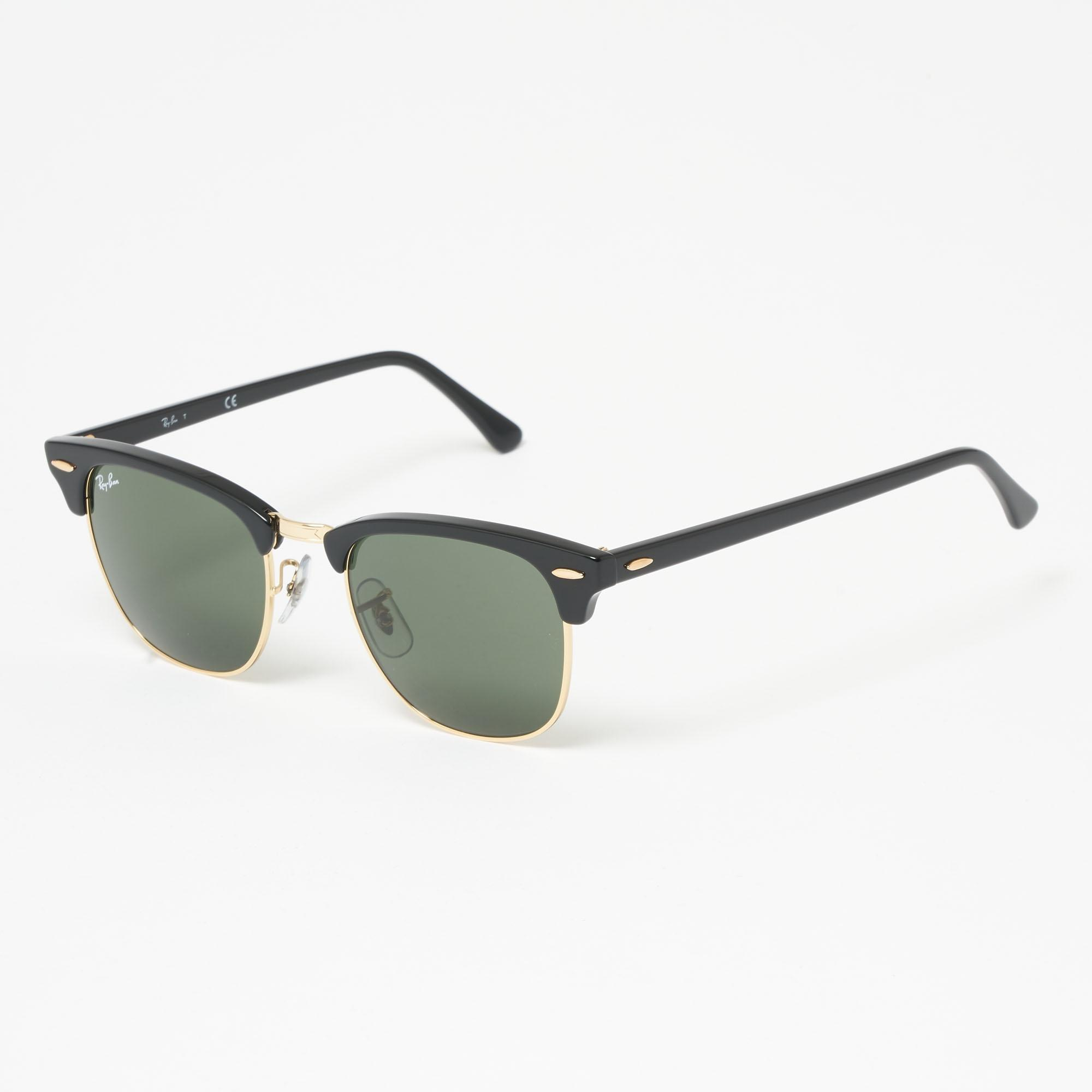 a7b6ca17e9 Ray-Ban. Men s Black Clubround Classic Sunglasses - Green Classic G-15  Lenses