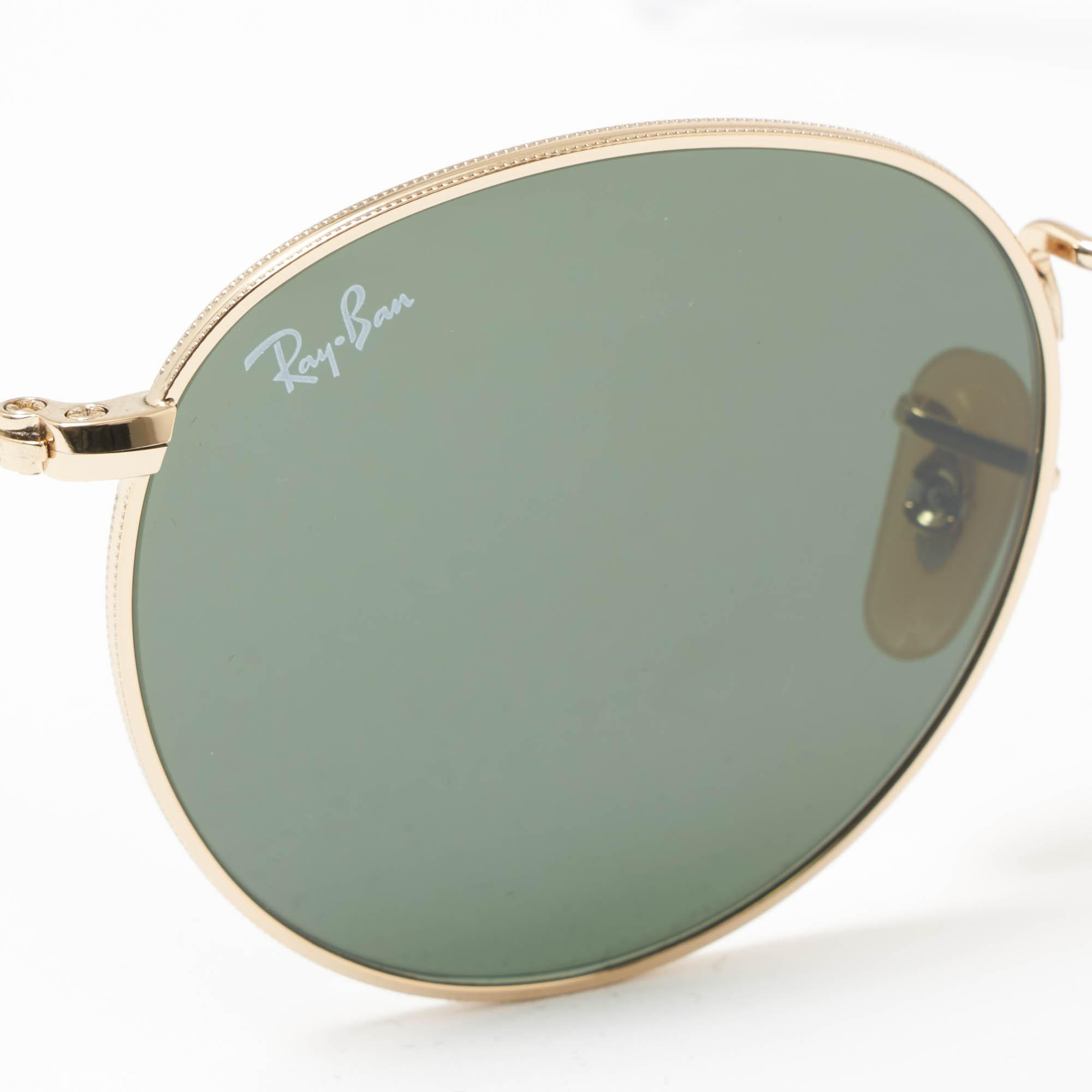 a807588c2d Ray-Ban - Metallic Gold Round Metal Sunglasses - Green Classic G-15 Lenses.  View fullscreen