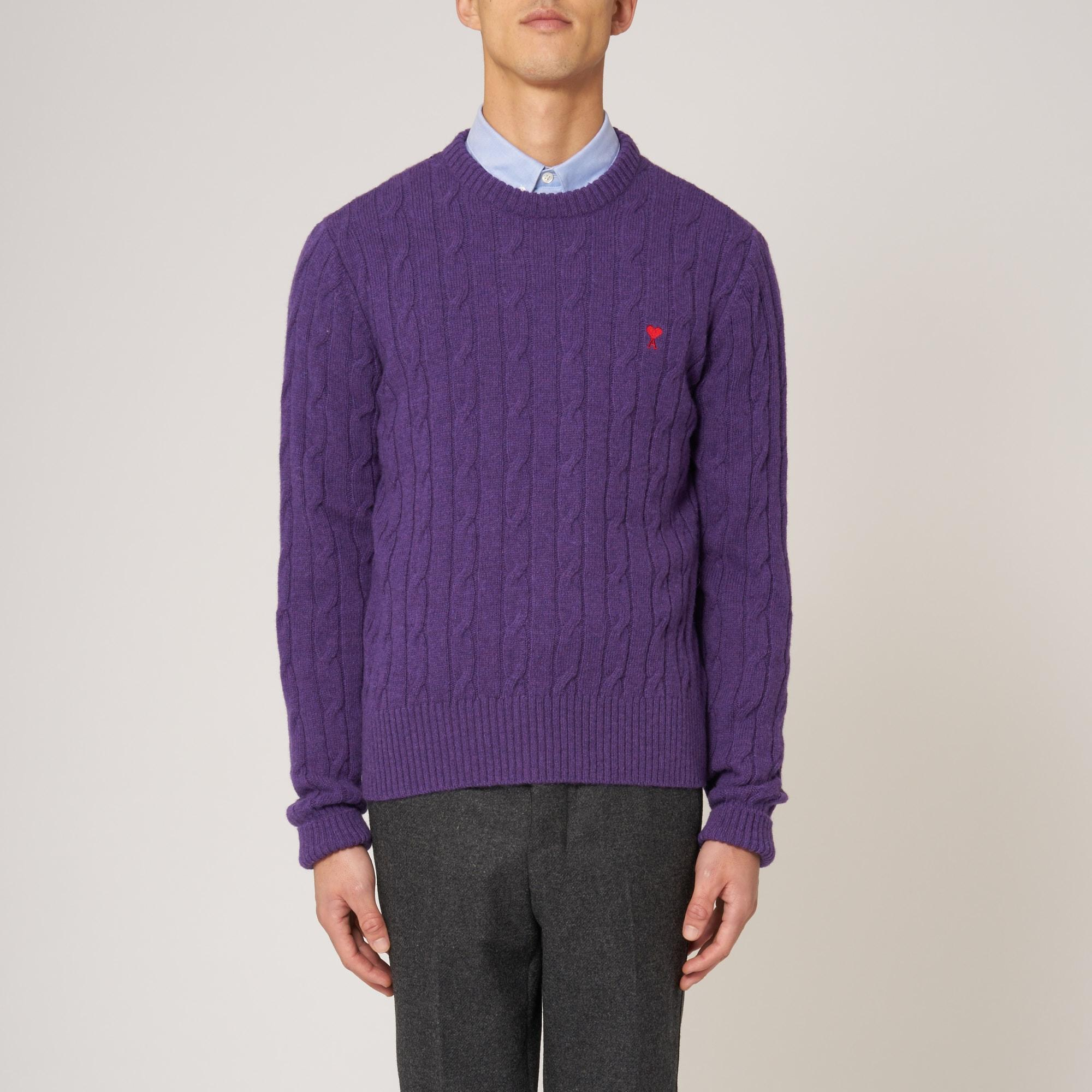 Ami Purple Cable-knit Sweater in Purple for Men - Save 27% | Lyst