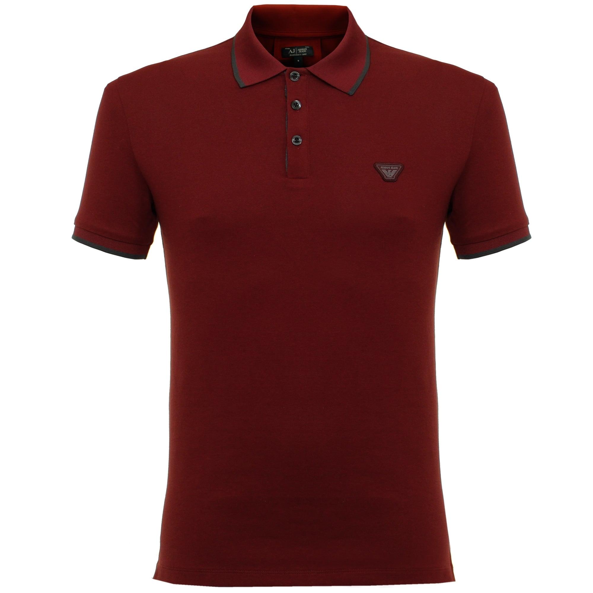 Armani Jeans Pique Bordeaux Ss Polo Shirt In Blue For Men
