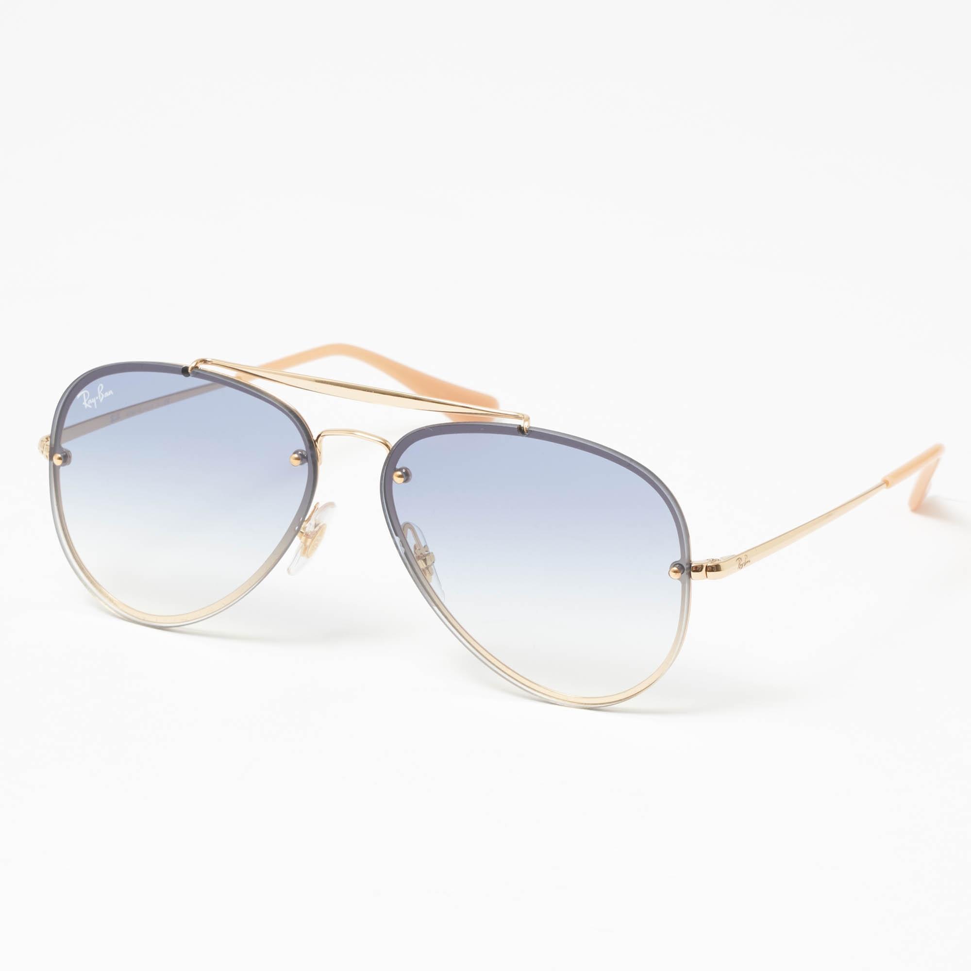 e406e6e2ba9 Ray-Ban. Men s Metallic Gold Blaze Aviator Sunglasses - Light Blue Gradient  Lenses