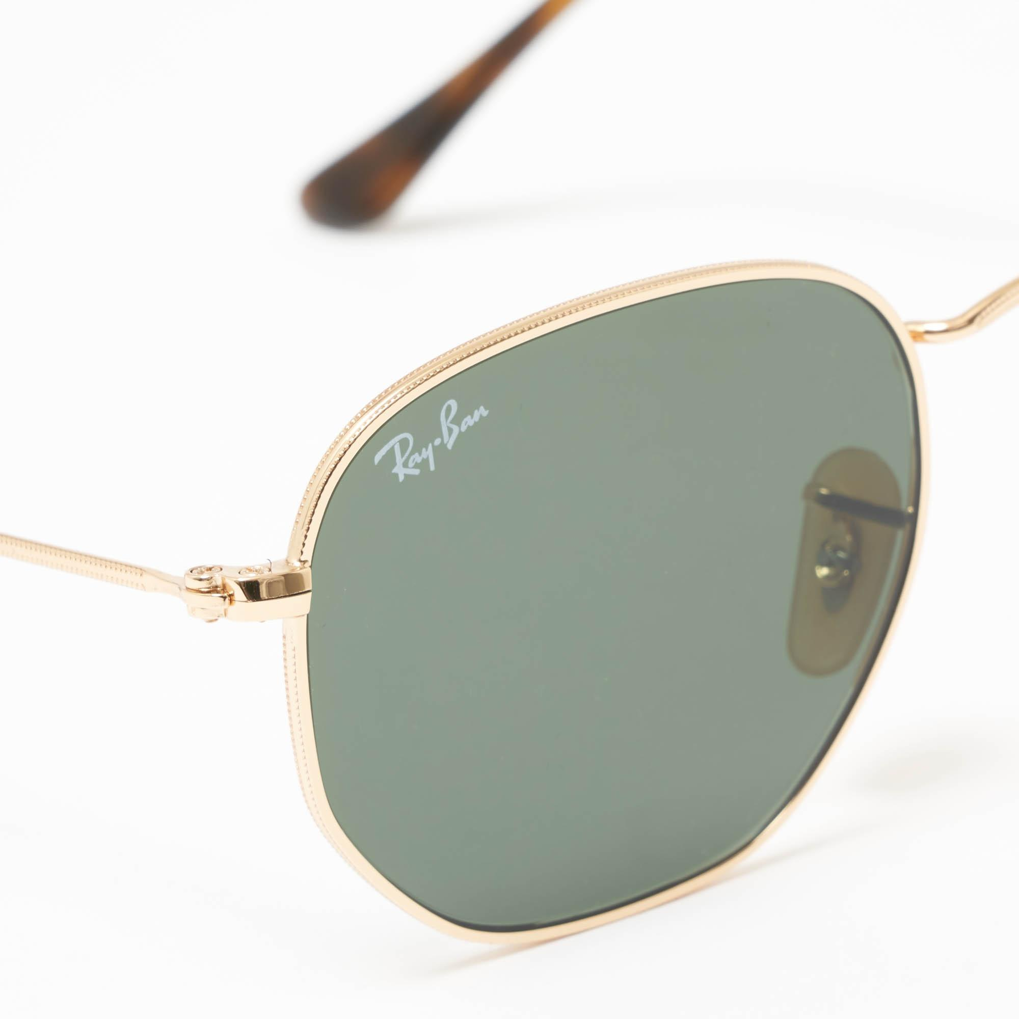 9b7b6740984 Ray-Ban - Metallic Gold Hexagonal Flat Lens Sunglasses - Green Classic  G-15. View fullscreen