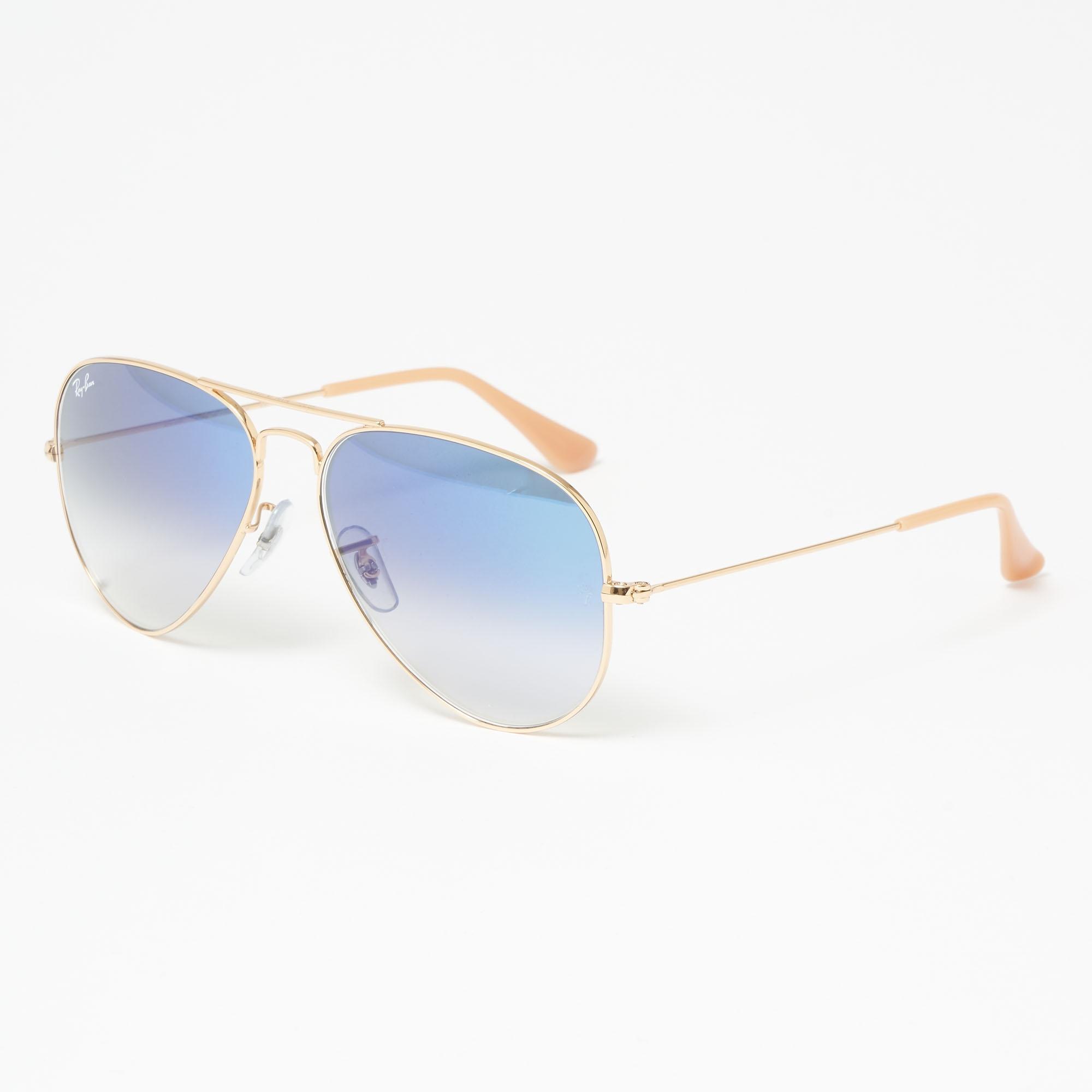 cf9c7f191a87c Ray-Ban. Men s Metallic Gold Aviator Gradient Sunglasses - Light Blue  Gradient Lenses