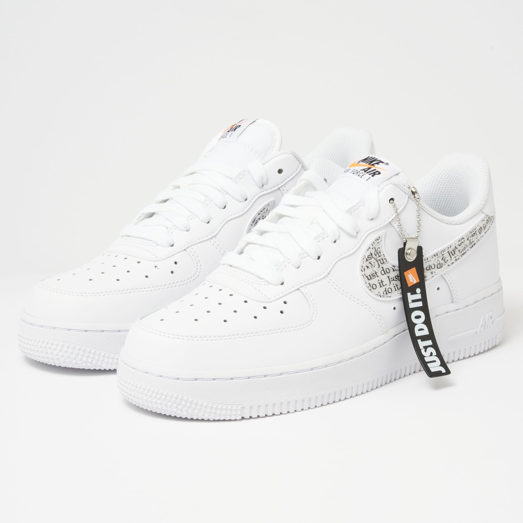 online retailer 7cd56 8a217 Nike Air Force 1  07 Lv8  just Do It  Lntc - White, Black,total ...