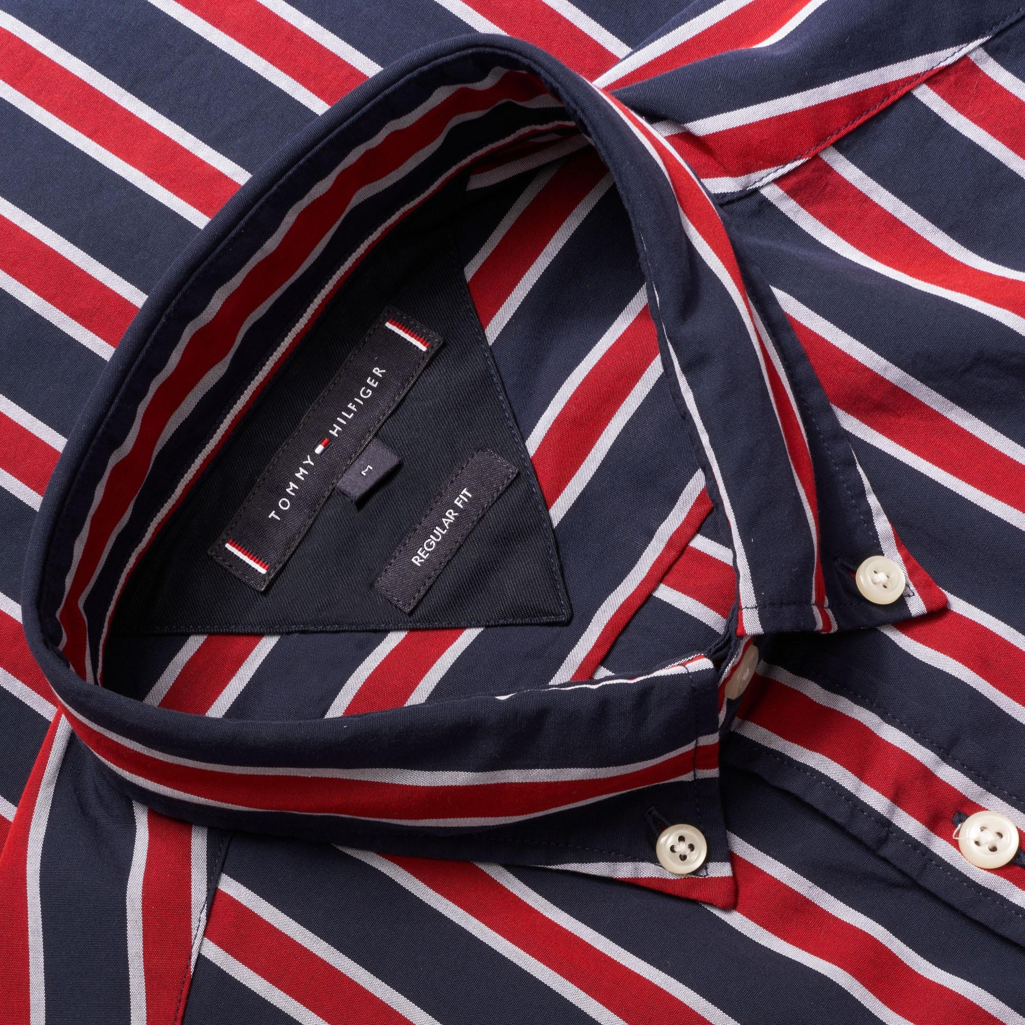 3cbd3712 Tommy Hilfiger - Regimental Stripe Shirt - Haute Red & Black Iris for Men -  Lyst. View fullscreen