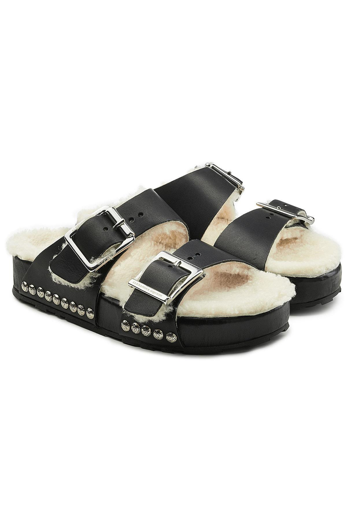 Black and Off-White Shearling Strap Sandals Alexander McQueen 5tl9F