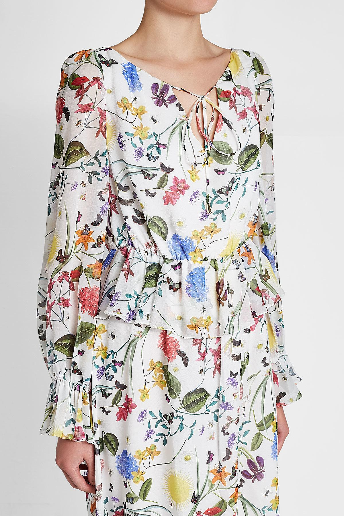 6cce57a90b9d1 Borgo De Nor - Multicolor Lily Printed Silk Dress - Lyst. View fullscreen