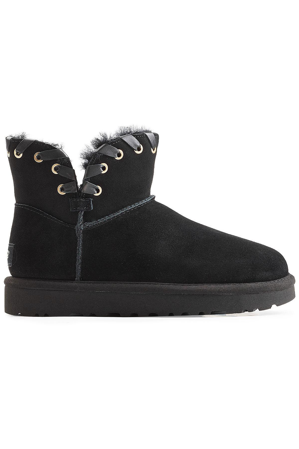 dcd8335c103 ... release date ugg black aidah mini suede boots with wool insole lyst.  view fullscreen 1474e