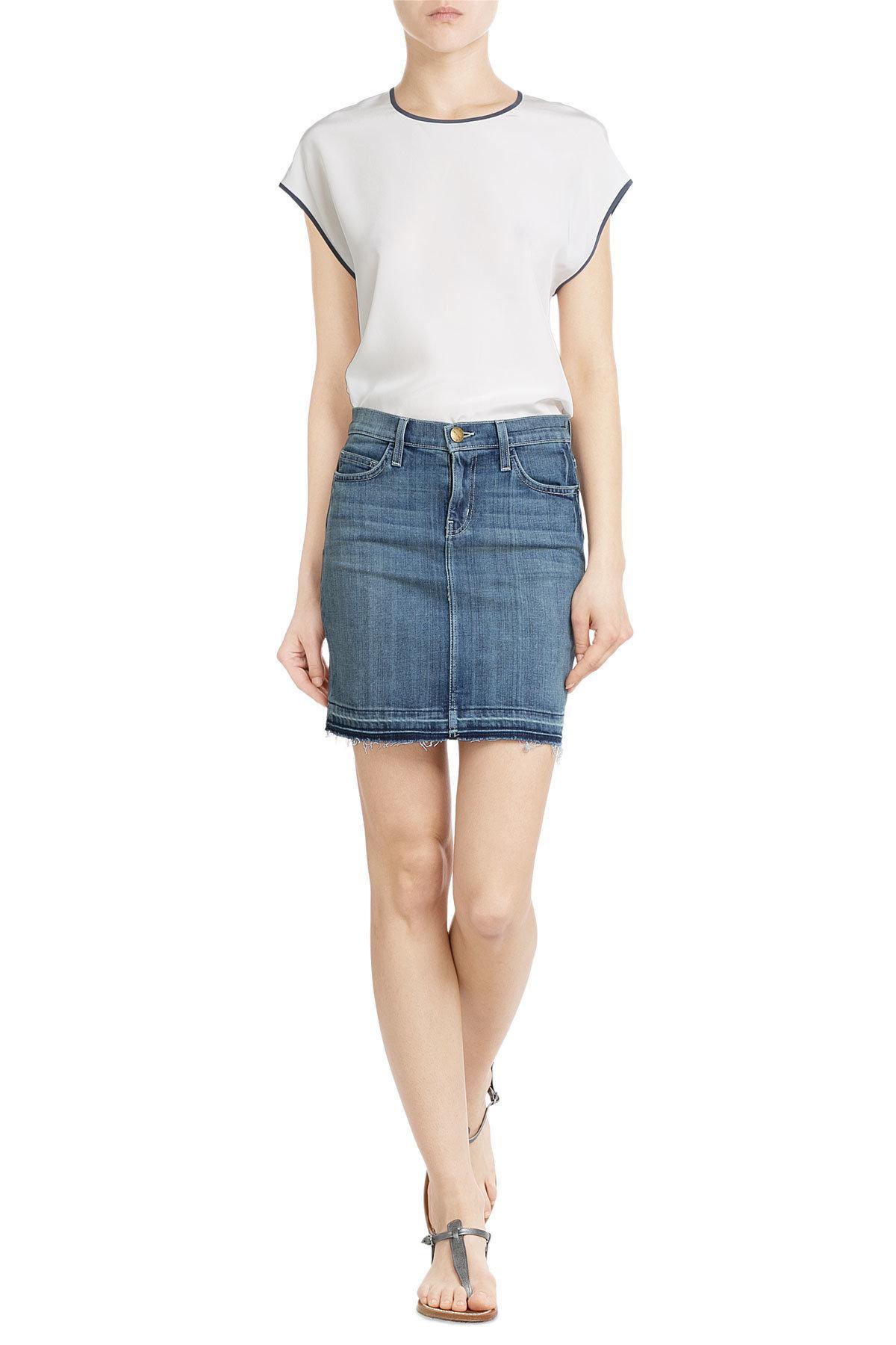 current elliott the mini denim skirt in blue lyst