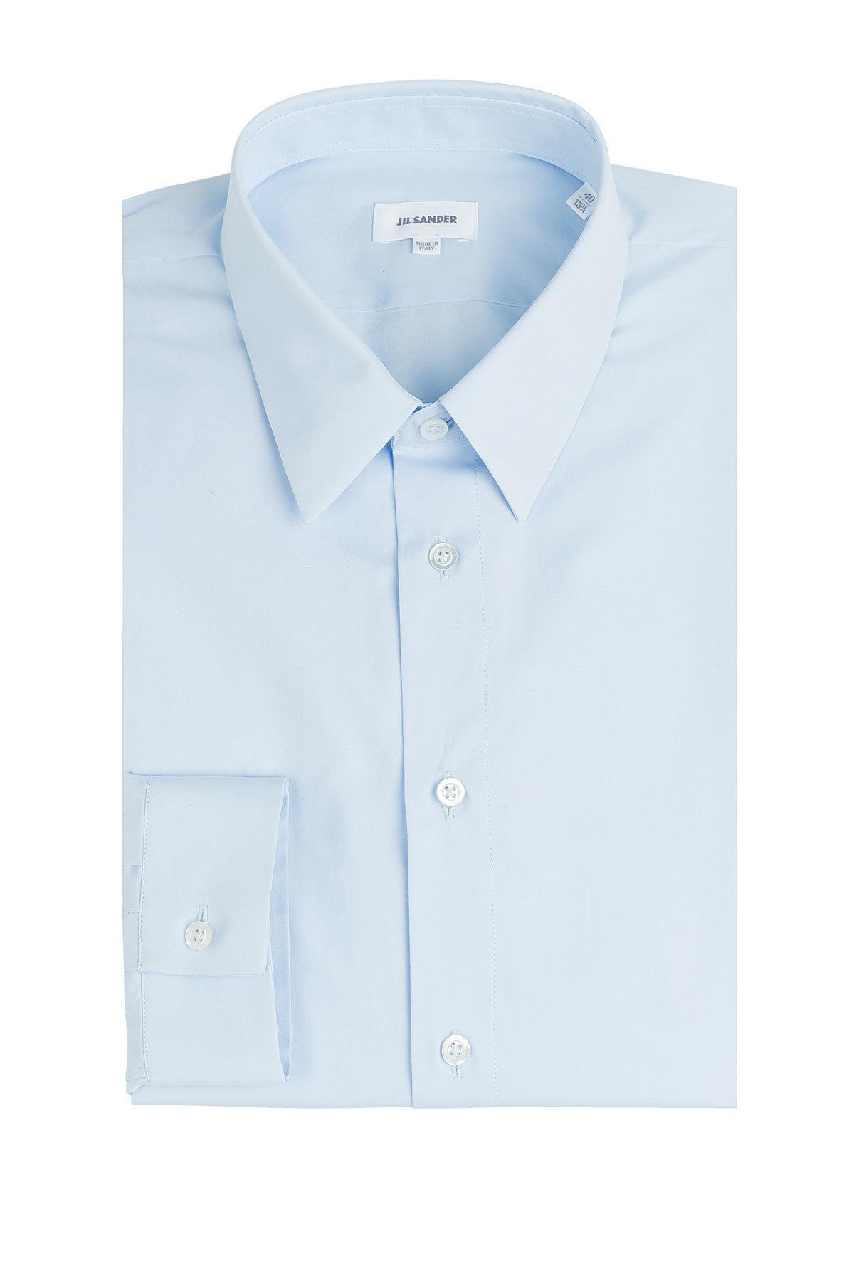 Jil sander cotton shirt in blue for men lyst for Jil sander mens shirt