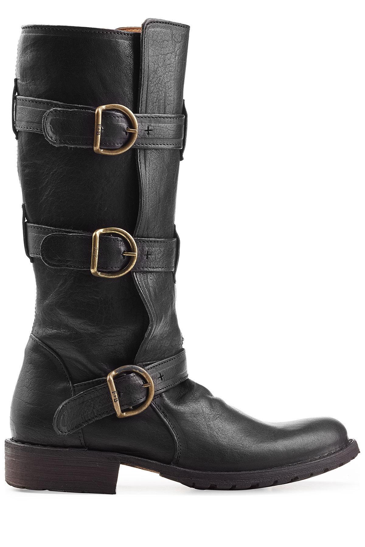 Lyst Fiorentini Baker Buckled Leather Boots In Black