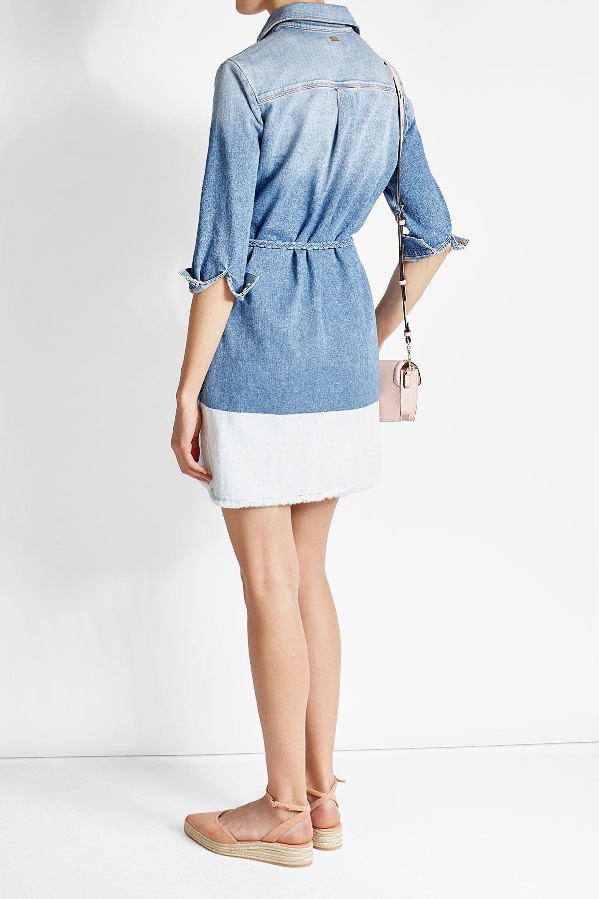 lyst 7 for all mankind denim shirt dress in blue