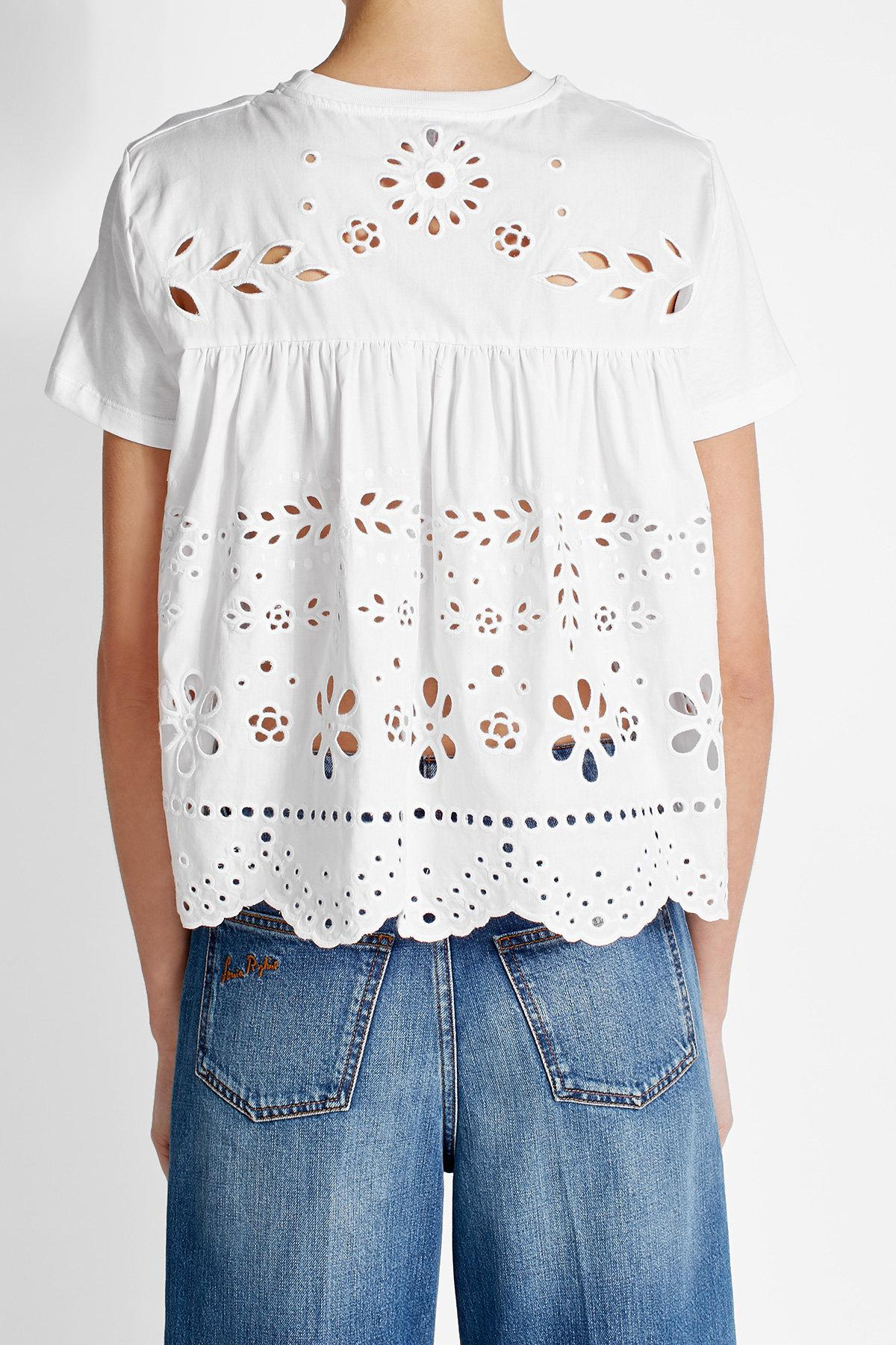 Lyst red valentino cotton t shirt with eyelet detail in blue for Red valentino t shirt