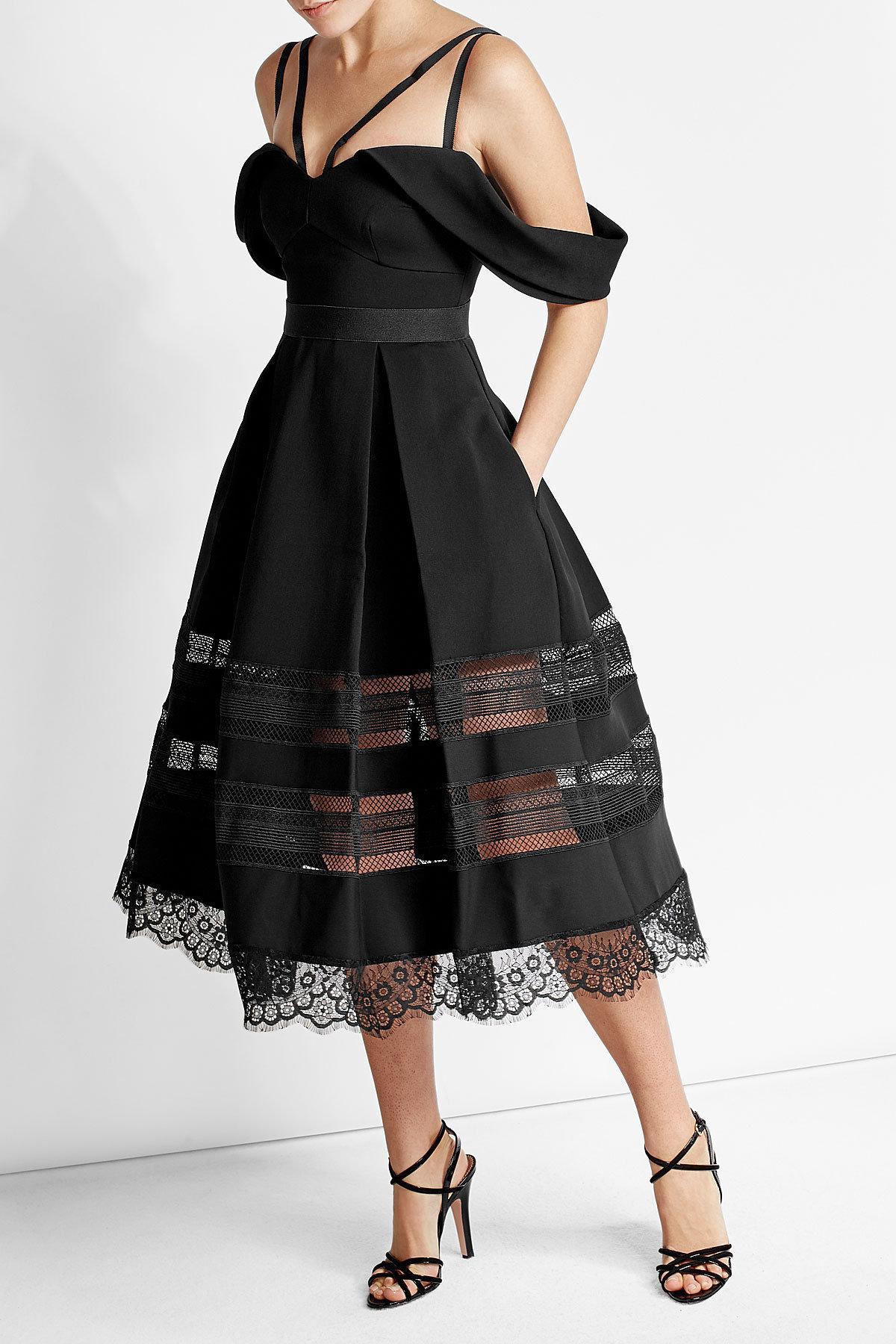 Lyst Self Portrait Draped Crepe Dress With Lace Detail