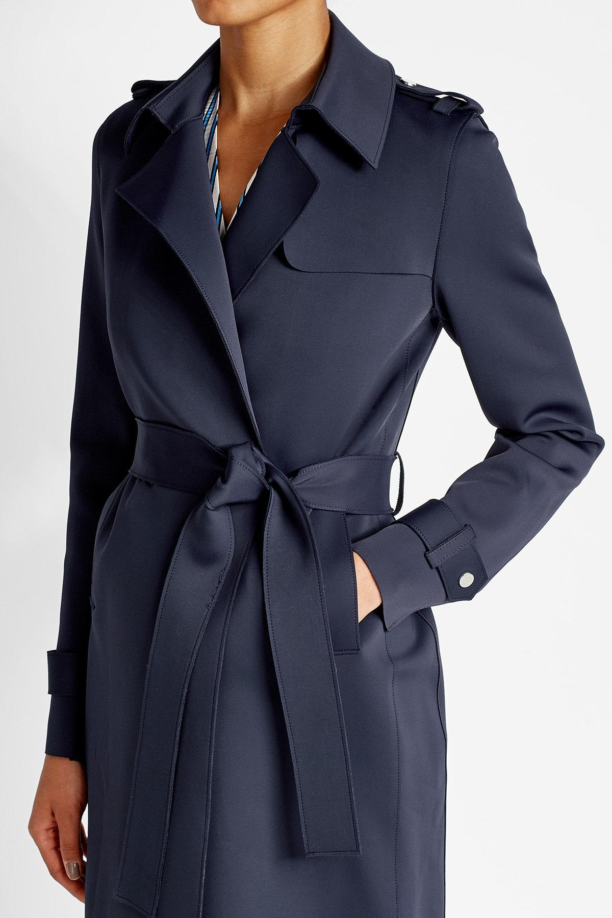 lyst harris wharf london trench coat in blue. Black Bedroom Furniture Sets. Home Design Ideas