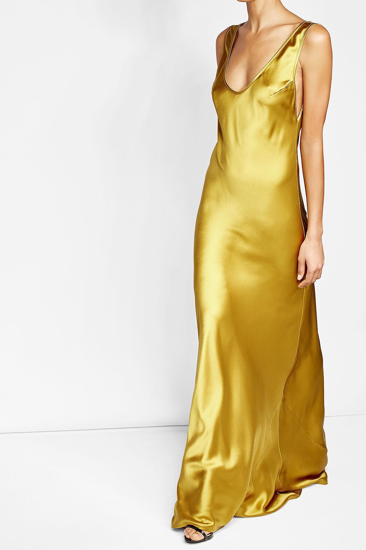 Lyst Galvan Silk Dress In Yellow