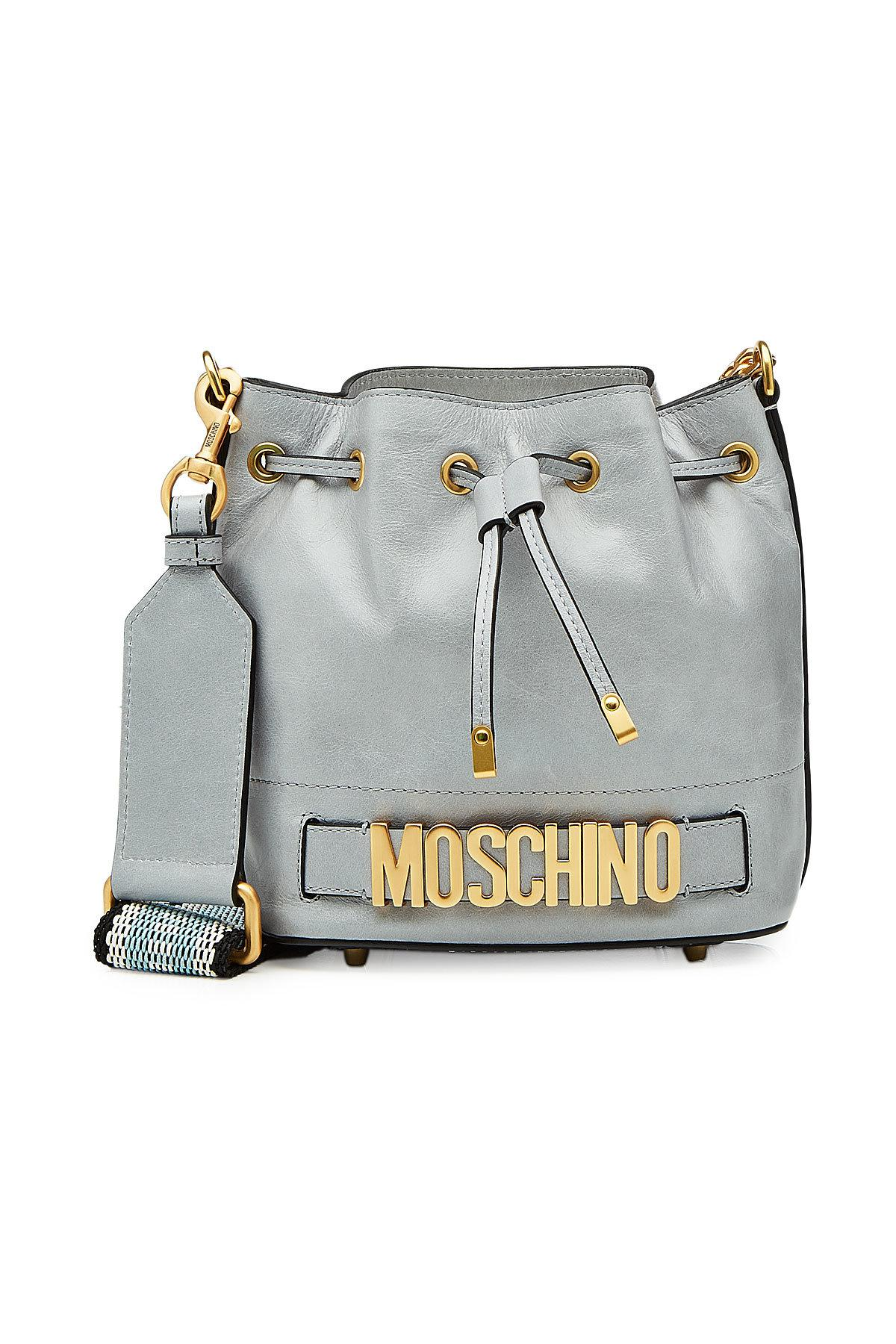 Lyst - Sac seau en cuir à logo Moschino 88a576dbb11